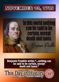 0012 - November 13, 1789 - Ben Franklin Warns of